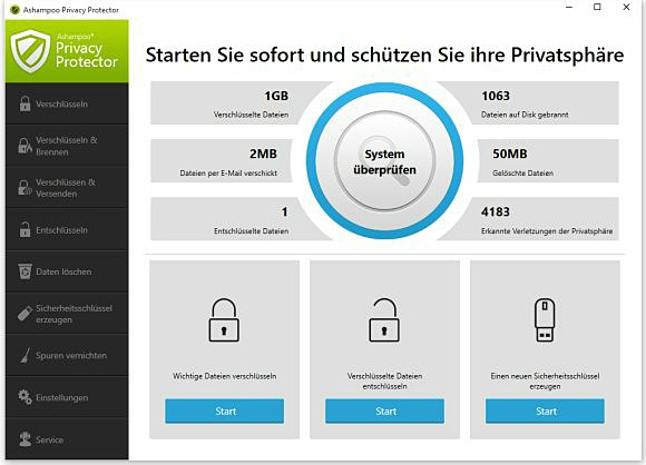 Ashampoo Privacy Protector Funktionen