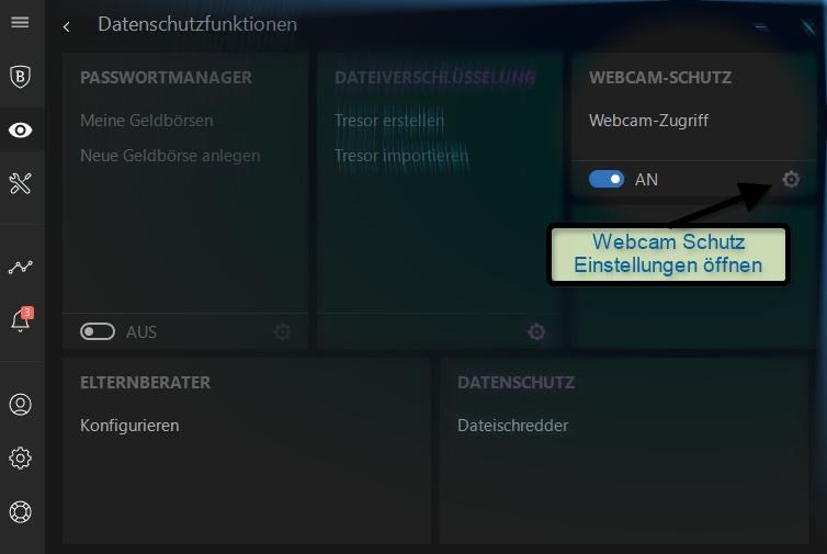 Bitdefender Webcam Schutz aktivieren
