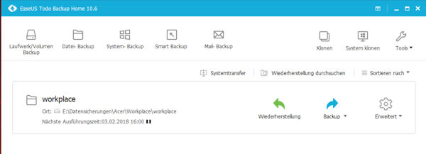 easeus todo backup software Hauptfenster