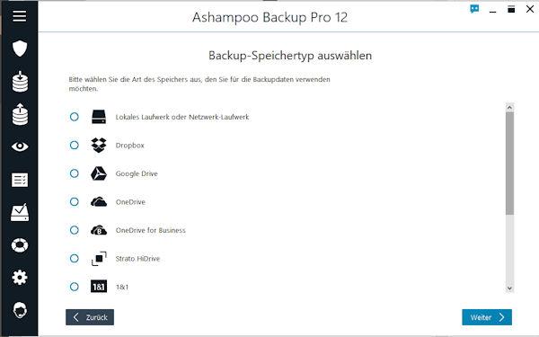 Ashampoo Backup Pro Sicherungsmedien