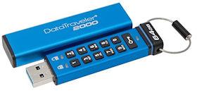Kingston DataTraveler 2000 64 GB - 256-Bit AES-Hardwareverschlüsselung und ist zusätzlich manipulationssicher physisch versiegelt